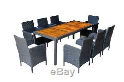 Outdoor Patio Rattan Wicker Furniture Dining Table Chair set 7pc/9pc Cushioned