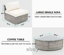 Outdoor Patio Sectional Furniture PE Wicker Rattan Sofa Set Garden Yard