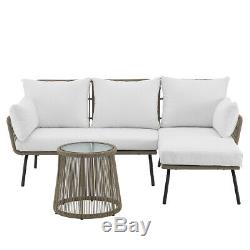 Outdoor Patio Sectional Rattan Furniture Set Seat Cushioned with Table, Cream