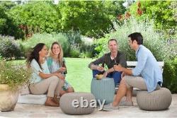 Outdoor Patio Set Dining Garden Balcony Furniture Wicker Modern 3 Pcs Storage
