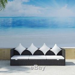 Outdoor Patio Sofa with Cushion Furniture Pillows Adjustable Couch Rattan Wicker
