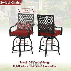 Outdoor Patio Table Chairs Set Swivel Bar Stool With Cushion Metal Square Tables