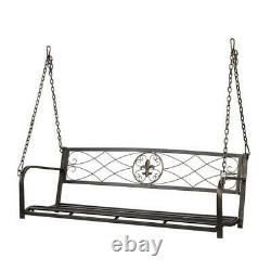 Outdoor Porch Swing Chair 2-Person Seat Hanging Bench Metal Patio Yard Furniture
