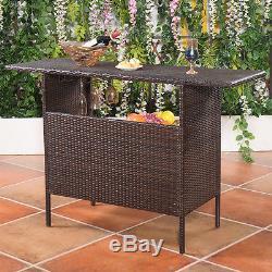 Outdoor Rattan Wicker Bar Counter Table Shelves Garden Patio Furniture Brown NEW