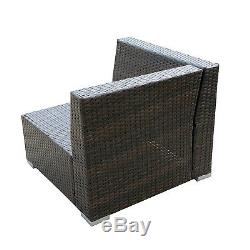Outdoor Rattan Wicker Corner Sofa Couch Patio Garden Furniture with Cushion Brown