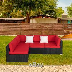 Outdoor Sectional Patio Sofa Set Wicker Furniture Garden Rattan Cushion Red