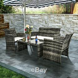 Outdoor Sectional Set 4PCS Patio Sofa Set Wicker Furniture Garden Rattan Cushion