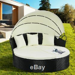 Outdoor Sofa Set Patio Rattan Furniture Round Retractable Wicker Daybed w Canopy