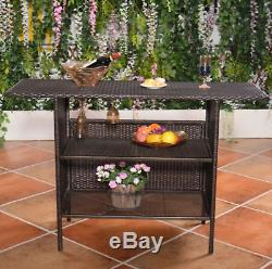 Outdoor Wicker Bar Counter Deck Shelves Garden Patio Furniture Brown Rattan Rack