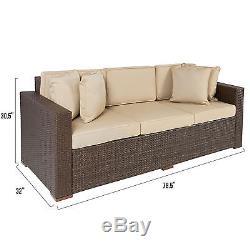 Outdoor Wicker Patio Furniture Sofa 3 Seater Luxury Comfort Brown Wicker Couch