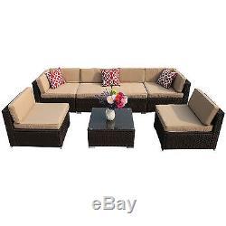 Outdoor Wicker Rattan Patio Garden Sectional Furniture Sofa Chair Set 7PC Brown