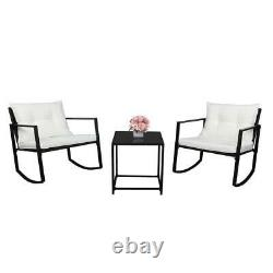 Outdoor Wicker Rocking Chair 3PCS Set Rattan Patio Furniture Table with Cushions
