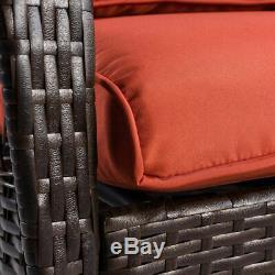 Outdoor Wicker Rocking Chair Porch Deck Rocker Patio Furniture with Cushion