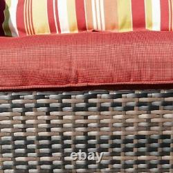 Outdoor Wicker Rocking Chair Rattan Patio Garden Furniture with Cushions Red