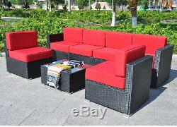 Outdoor Wicker Sofa All-Weather Patio Furniture Sectional Cushoned Set 6082-7PC