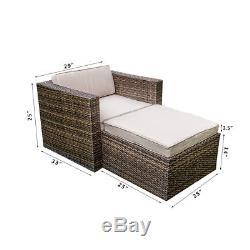 Outdoor Wicker Sofa Set Patio Rattan Sectional Furniture Garden Deck Couch Brown
