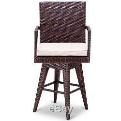 Outdoor Wicker Swivel Bar Stool Chair Patio Backyard Furniture Seat Cushion