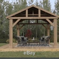 Outdoor Wooden Gazebo 14x12 Pavilion Metal Roof for Patio Furniture Set Hot Tubs