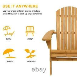 Outdoor Wooden Wood Folding Adirondack Chair Patio Furniture US Ship