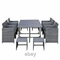 Outsunny 11PC Rattan Dining Furniture Set Patio Wicker Table Chair Outdoor Seat