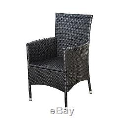 Outsunny 2PC Outdoor Rattan Wicker Patio Furniture Dining Arm Chairs With Cushions