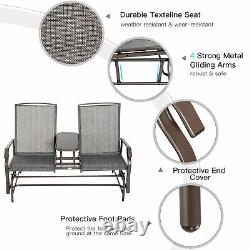 Outsunny 2 Seater Patio Glider Rocking Chair Metal Swing Bench Furniture Table