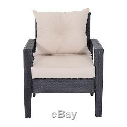 Outsunny 4pc Patio Furniture Set Rattan Wicker Sofa Outdoor Chair Cushioned Seat