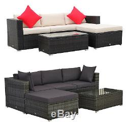 Outsunny 5-Piece Outdoor Patio Rattan Furniture Set with Ottoman Sofa Table