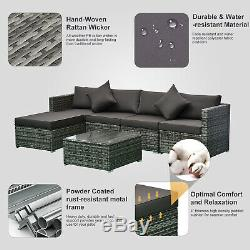 Outsunny 6-Piece Outdoor Patio Rattan Wicker Furniture Set with Cushions Charcoal