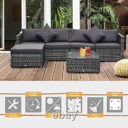 Outsunny 6-Piece Outdoor Patio Rattan Wicker Furniture Sofa Set with Cushions Grey