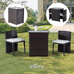 Outsunny Rattan Wicker Furniture Set 3PC Cushioned Outdoor Patio Sofa Chair