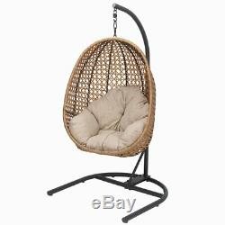 PATIO WICKER HANGING Egg Nest CHAIR Stand Porch Swing Outdoor Furniture Cushion