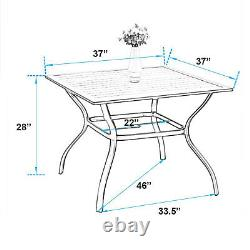 PHI VILLA Outdoor Dining Table Square Patio Table With Umbrella Hole Furniture