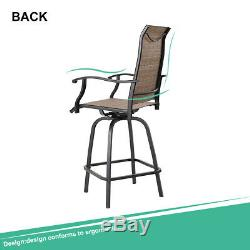PHI VILLA Outdoor Patio Bistro High Chairs, Sling Swivel Bar Stools Set of 2
