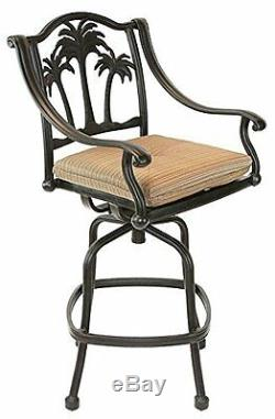Palm Tree Outdoor Patio Furniture 5pc Set Bar Table 42 Cast Aluminum