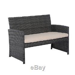 Patio 4PC Rattan Wicker Sofa Furniture Set Cushioned Outdoor Garden Lawn Deck