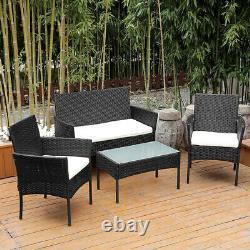 Patio 4 PCS Wicker Furniture Outdoor Rattan Sofa Table Garden Conversation Set
