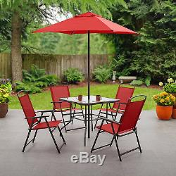 Patio 6 Piece Dining Set Outdoor Furniture Folding Table Chairs Umbrella Garden