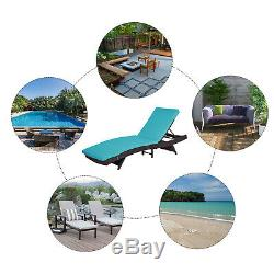 Patio Adjustable Rattan Wicker Chaise Lounge Chair Cushioned Outdoor Furniture