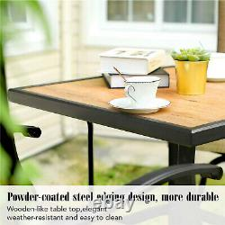 Patio Bar Table Square Wooden-Like Outdoor Bar Height Table For Garden Bistro