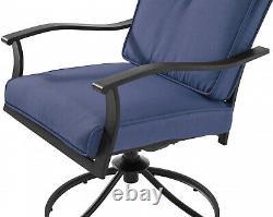 Patio Bistro Furniture 3 Piece Table Chairs Outdoor Porch Garden Backyard, Blue