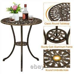 Patio Bistro Furniture Set Outdoor Garden Table Chair Bronze Sturdy, 3 Piece