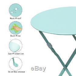 Patio Bistro Set 3 Piece Outdoor chair&table Garden Furniture steel Light Blue