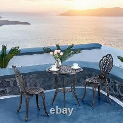 Patio Bistro Set of 3 Outdoor Furniture Chairs Table with Umbrella Hole Retro