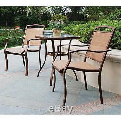 Patio Bistro Table And Chairs Set Outdoor Furniture 3-Piece Porch Deck Backyard