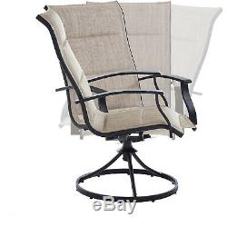 Patio Bistro Table And Swivel Rocking Chairs Set Outdoor Furniture 3-Piece Porch