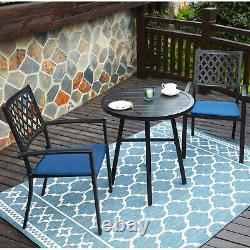 Patio Chair Set of 2 Black Stackable Waterproof Outdoor Dining Chairs Furniture