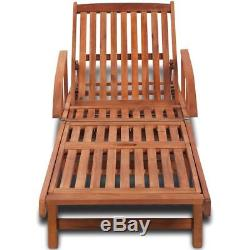 Patio Chaise Lounge Chair Sun Bed Lounger Sofa Acacia Hardwood Outdoor Furniture
