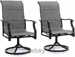Patio Dining Chairs Set of 2 Swivel Armrest Chair Outdoor Furniture Garden Lawn