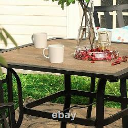 Patio Dining Table Square Outdoor Garden Furniture Table With 1.7 Umbrella Hole